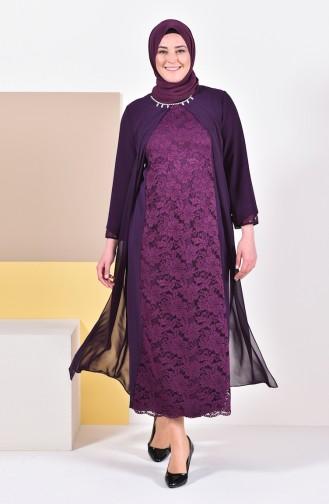 Plus Size Stones Evening Dress 1049-02 Purple 1049-02