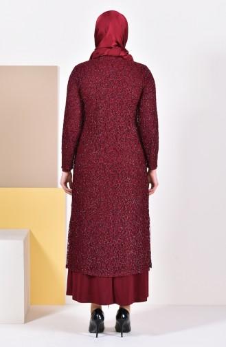Robe de Soirée Grande Taille 1062-05 Bordeaux 1062-05