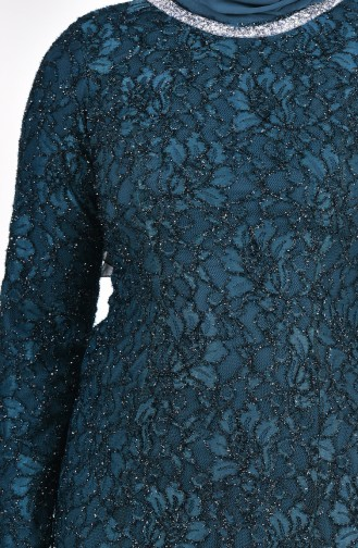 Large Size Lace Overlay Evening Dress 2054-02 Emerald Green 2054-02