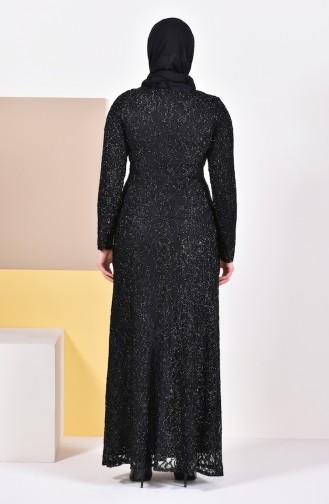 فستان سهرة بتصميم من الدانتيل وبمقاسات كبيرة 2054-03 لون اسود 2054-03