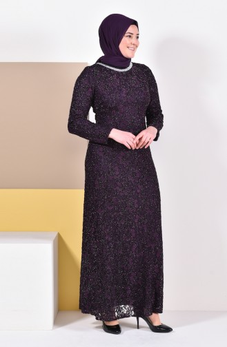 Large Size Lace Overlay Evening Dress 2054-04 Purple 2054-04