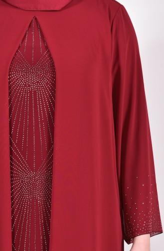 فساتين سهرة بتصميم اسلامي أحمر كلاريت 6211-04