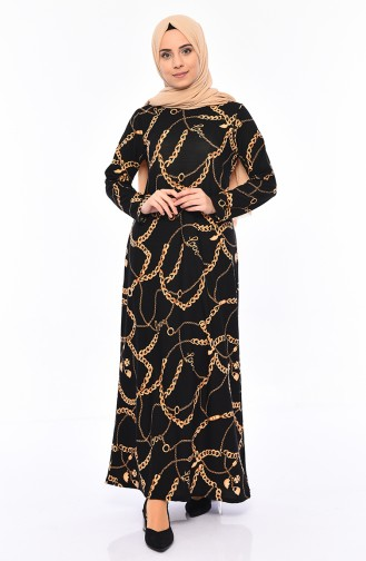 Patterned Dress 8800-03 Black 8800-03
