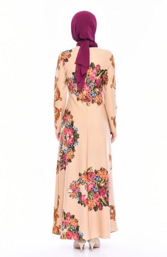 Kemerli Kuşaklı Elbise 1134-02 Krem