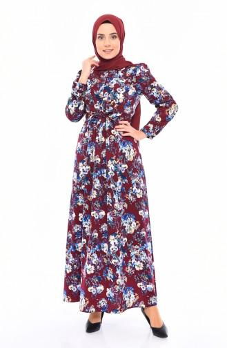 Flower Patterned Dress 2057-02 Purple 2057-02