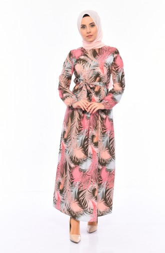 Patterned Summer Dress 1913-01 Khaki 1913-01