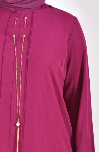 Large Size Necklace Detailed Tunic 7063-02 Plum 7063-02