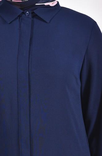 Tunique a Boutons Cachés Grande Taille 7235-06 Bleu Marine 7235-06
