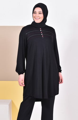 Large Size Embroidered Tunic 50515-08 Black 50515-08