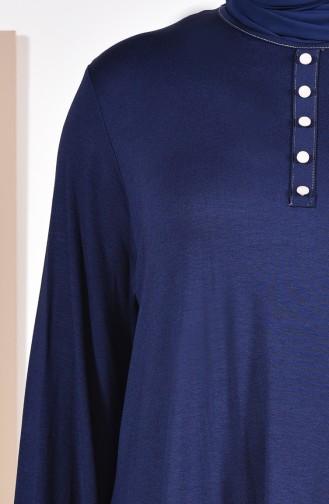 Büyük Beden Düğme Detaylı Tunik 50527-06 Lacivert