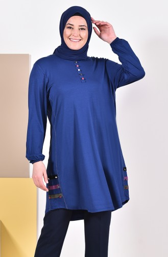 Large Size Buttons Detailed Tunic 50549-01 Navy Blue 50549-01