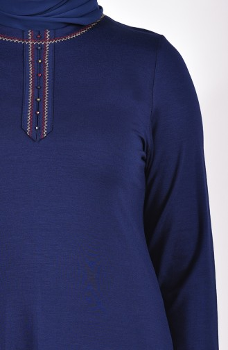 Large Size Embroidered Tunic 50550-02 dark Navy 50550-02