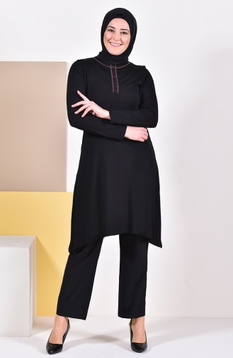 Large Size Embroidered Tunic 50550-04 Black 50550-04