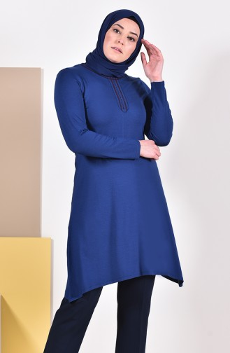 Large Size Embroidered Tunic 50550-06 Navy 50550-06