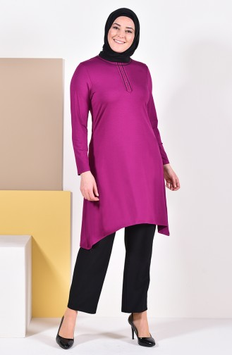 Large Size Embroidered Tunic 50550-07 Plum 50550-07