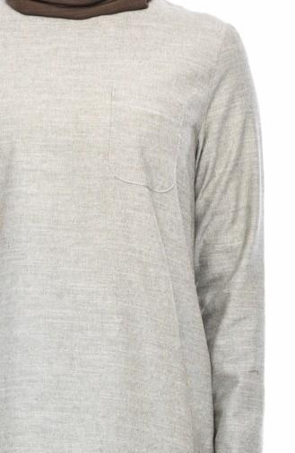 Cotton Buttons Detailed Tunic 3082-03 Khaki 3082-03