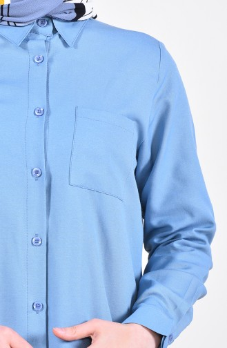 تونيك بتفاصيل جيوب وفتحات على الجانب 6350-13 لون نيلي 6350-13