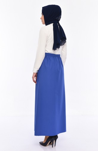 Plated Waist Skirt 1001A-02 İndigo 1001A-02