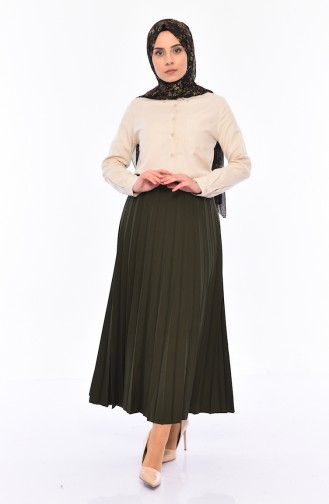 iLMEK Pleated Skirt 5224-06 Khaki Green 5224-06
