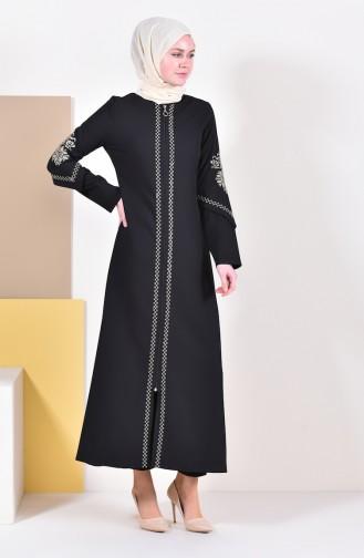 Abaya Bordée 61280-01 Noir 61280-01