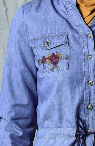 Embroideried Jeans Dress 9200-02 Jeans Blue 9200-02