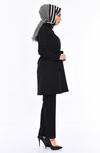 Belted Tunic Pants Binary Suit 3018-01 Black 3018-01