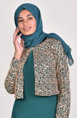Sequin Jacketed Evening Dress 3707-04 Green 3707-04