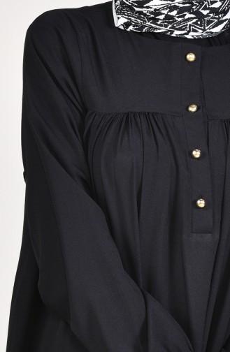 Düğmeli Elbise 1195-08 Siyah