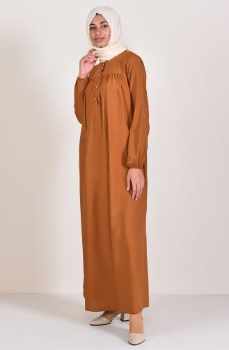 Düğmeli Elbise 1195-09 Taba