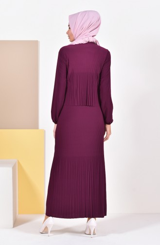 Pleated Dress 0310-02 Bordeaux 0310-02