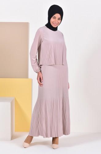 Piliseli Elbise 0310-03 Bej