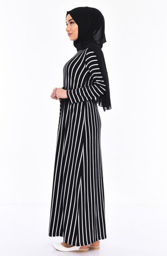 Striped Dress 3024-01 Black 3024-01
