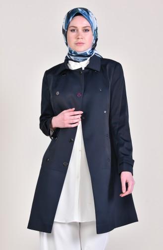 Navy Blue Trench Coats Models 1285-01