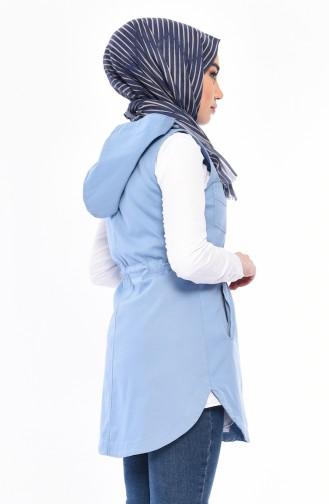 Gilet Sans Manches a Capuche 16046-04 Bleu 16046-04