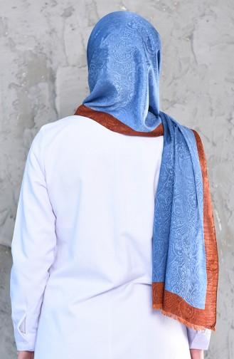 كاراكا شال رايون بتصميم مُطبع 90574-06 لون نيلي و قرميدي 90574-06