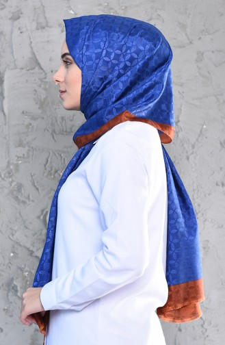 Karaca Monogram Châle Echarpe 90575-19 Bleu Roi Cuivre 90575-19