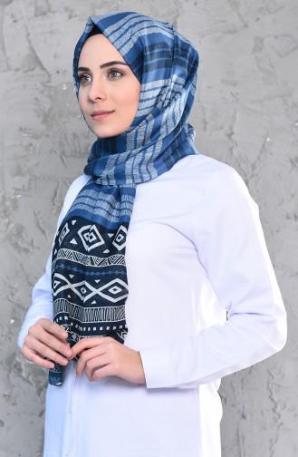 Desenli Pamuk Şal 95263-02 İndigo 95263-02