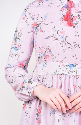 Patterned Chiffon Dress 6274-03 dry Rose 6274-03