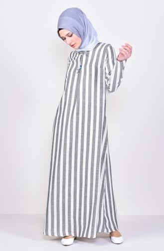 Striped A Pile Dress 2479-01 Black 2479-01