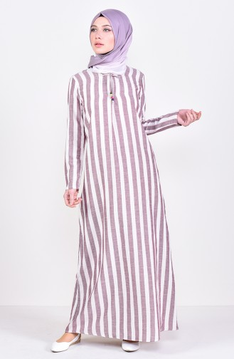 Striped A Pile Dress 2479-02 Bordeaux 2479-02