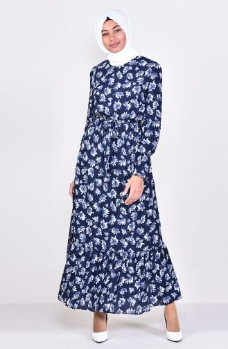 Patterned Laced-up Dress 60015-01 Dark Blue 60015-01