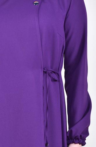 Tie Side Abaya 6814-01 Purple 6814-01