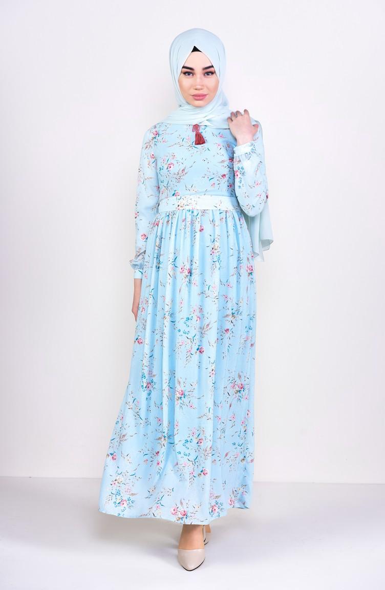 5961df7181682 Desenli Şifon Elbise 6274-02 Mint Mavi 6274-02