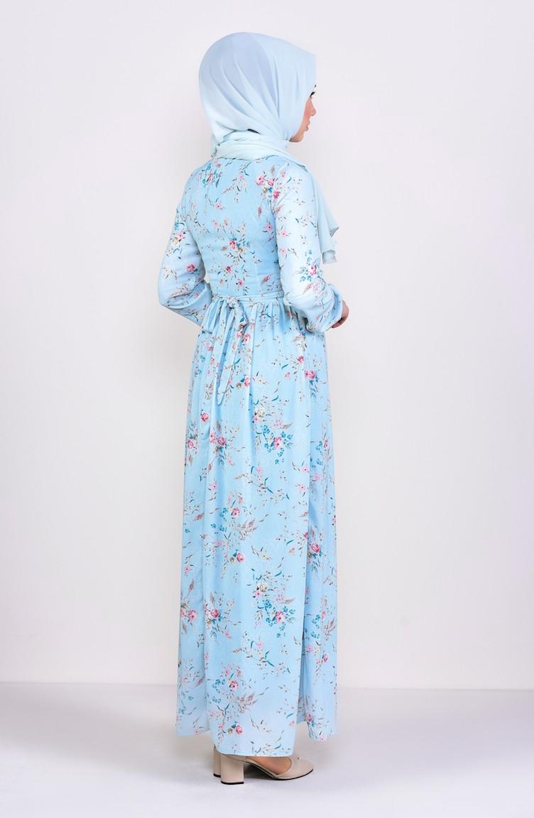ca9296afe61e1 Desenli Şifon Elbise 6274-02 Mint Mavi