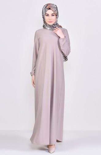 فستان بتصميم مزموم عند الخصر 4141-11 لون بيجد 4141-11