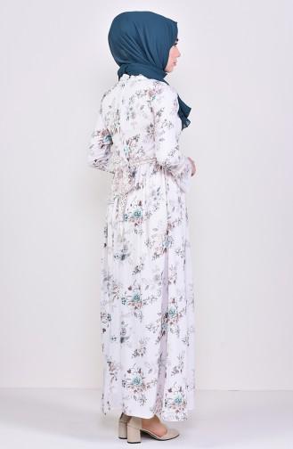 Patterned Chiffon Dress 6275-05 Beige Beige 6275-05