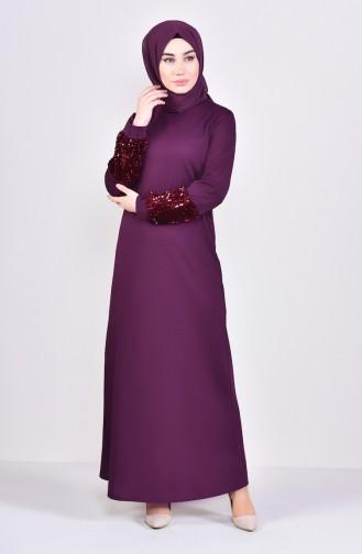 Kleid mit Pailletten 4011-03 Zwetschge 4011-03