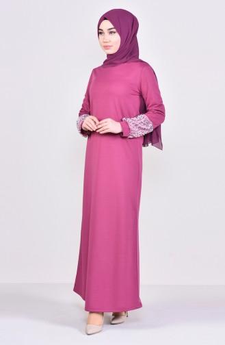 Robe Hijab Rose Pâle 4011-04