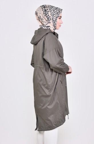 Trench Coat a Capuche 6795-01 Khaki 6795-01