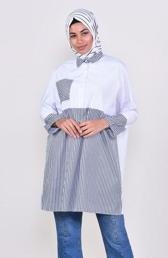 تونيك مُخطط بتصميم أكمام رجلان و جيوب 2478-06 لون كحلي و أبيض 2478-06